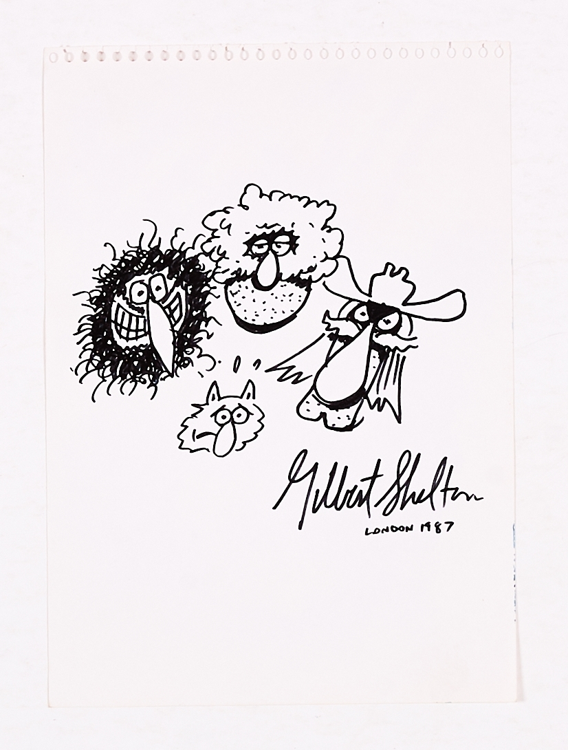 Lot 251 - Gilbert Shelton 1987 signed sketch of the Fabulous Furry Freak Brothers and Fat Freddy's Cat.
