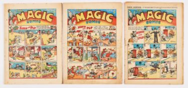 Magic Comic (1939) 10, 11, 12. No 11 has clear tape to interior cover edge [vg-], No 10 [vg+], No 12