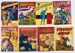 Marvelman (1950s) 45 top corner cut away [gd], 177, 353 with Blackhawk 3 (Strato), 57 (Popular
