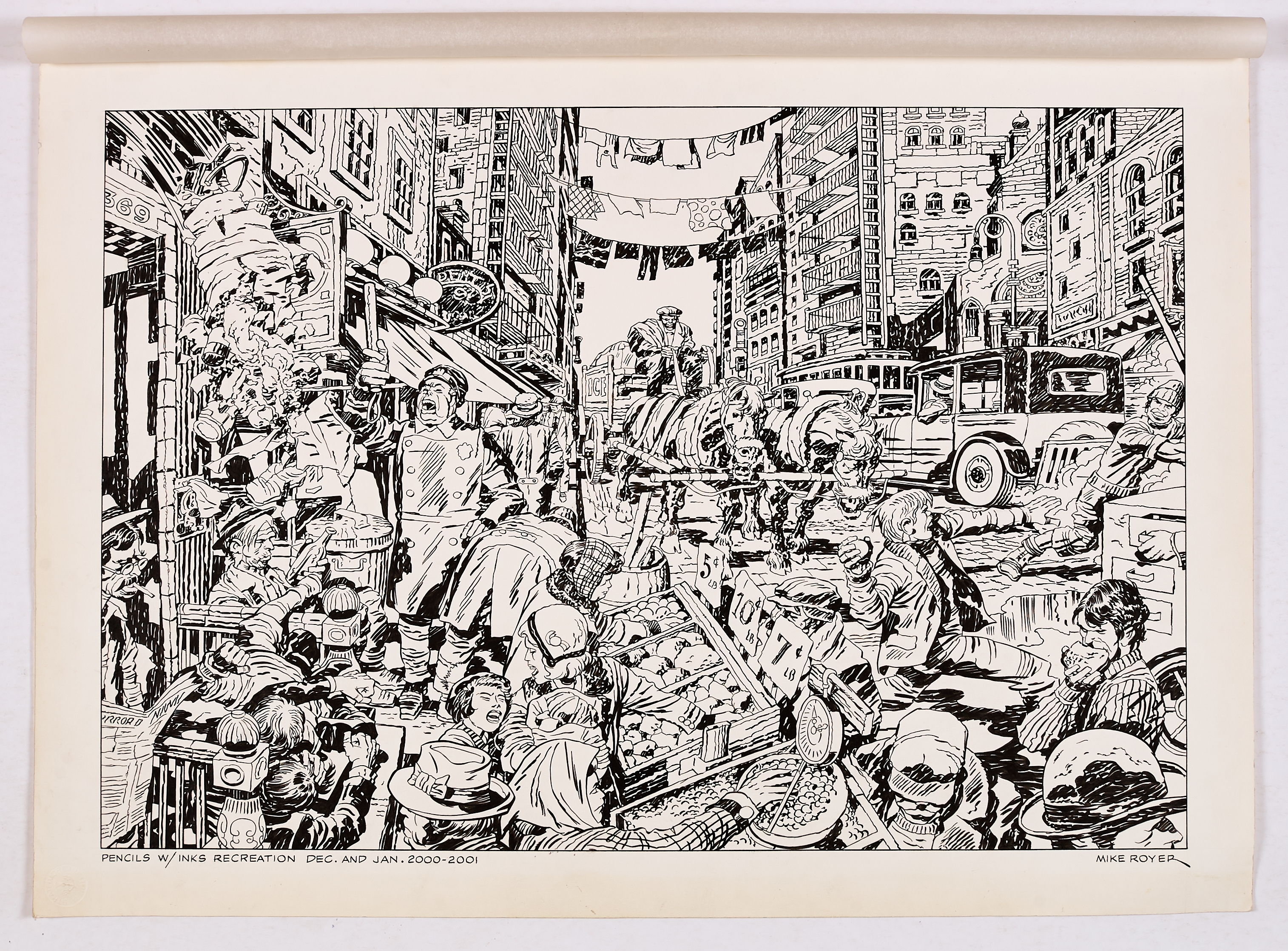 Lot 263 - Mike Royer's signed double-page recreation artwork (2001) of Jack Kirby's drawing of his early New