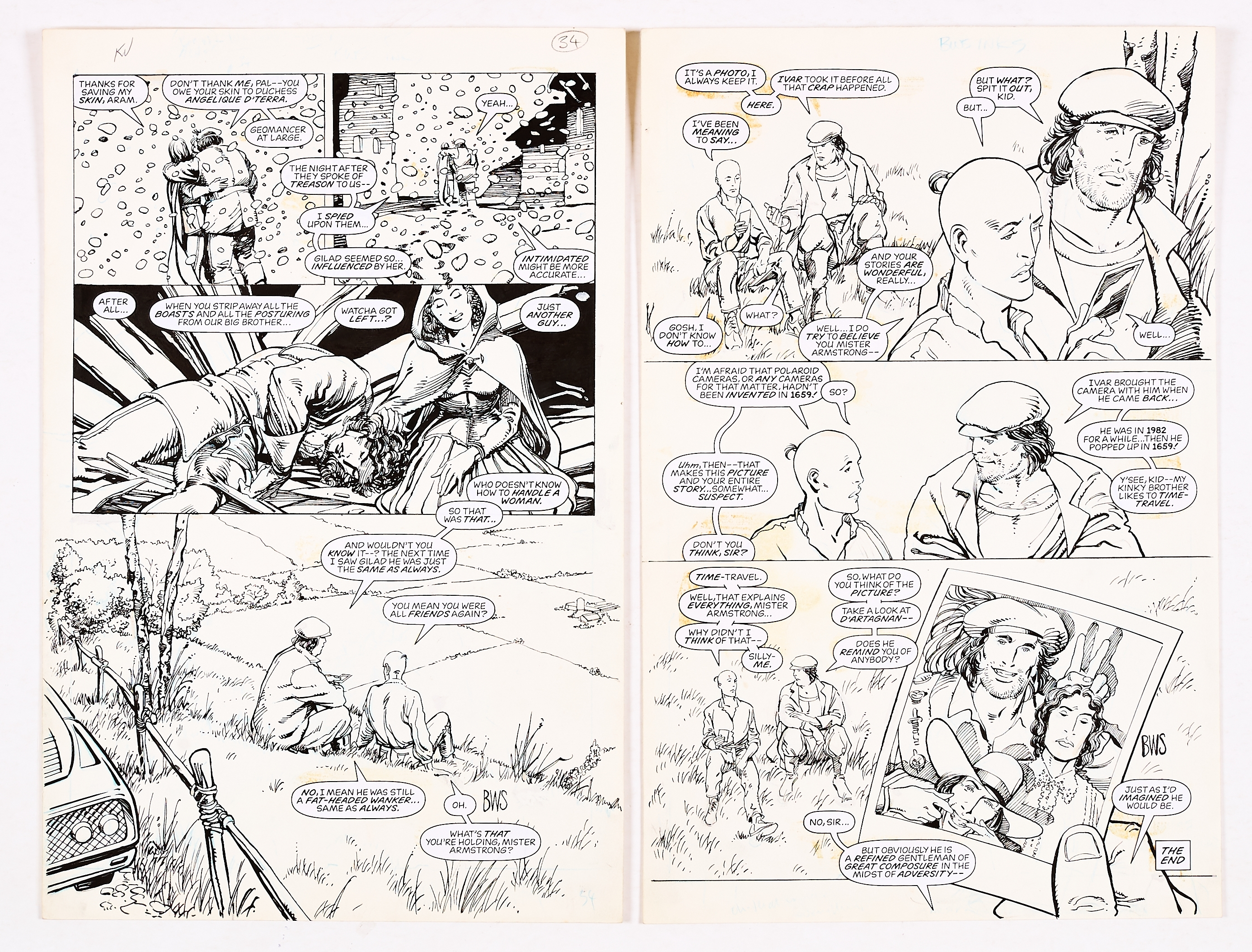 Lot 254 - Archer and Armstrong #8, pgs 24 & 25 original artwork (1992) drawn and initialled by Barry Windsor-