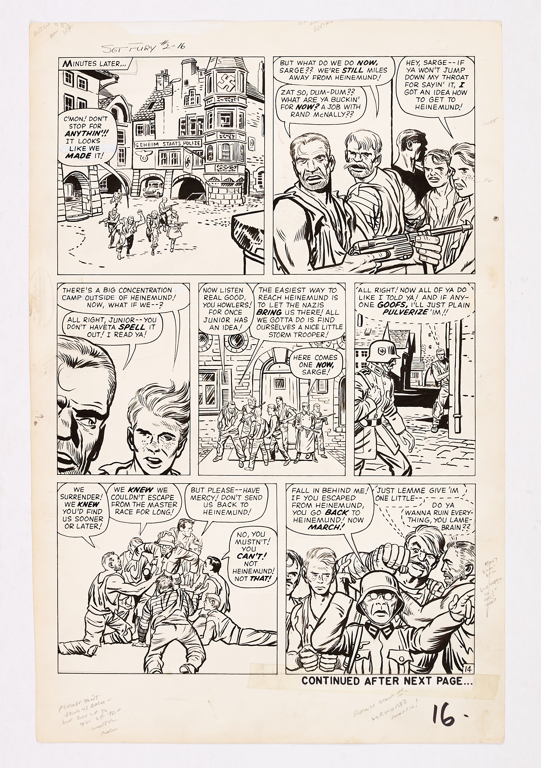 Lot 249 - Sgt Fury #2 pg 16 (1963) original artwork by Jack Kirby. Indian ink on cartridge paper. 21 x 14 ins