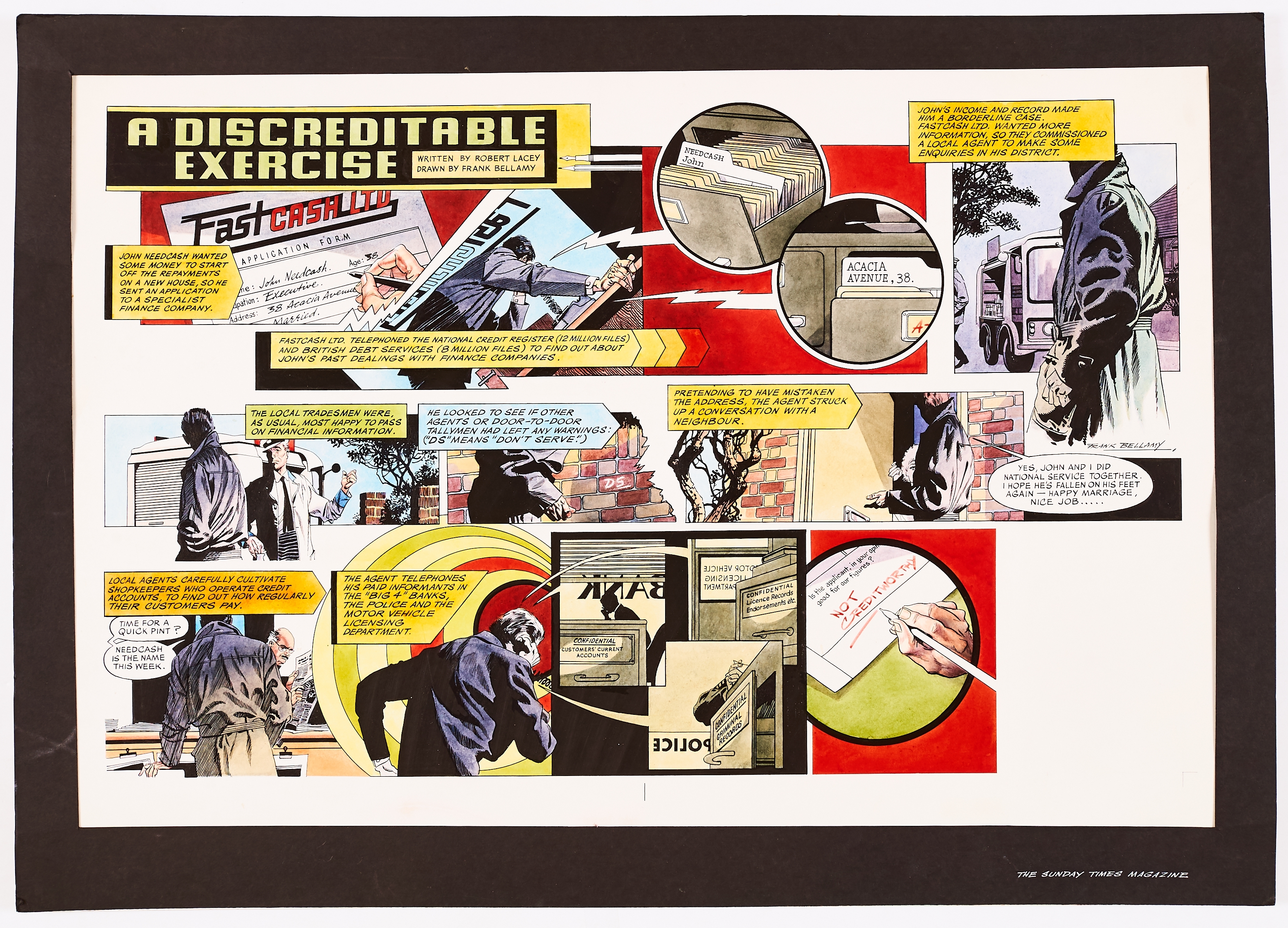 A Discreditable Exercise' original double-page artwork painted and signed by Frank Bellamy for