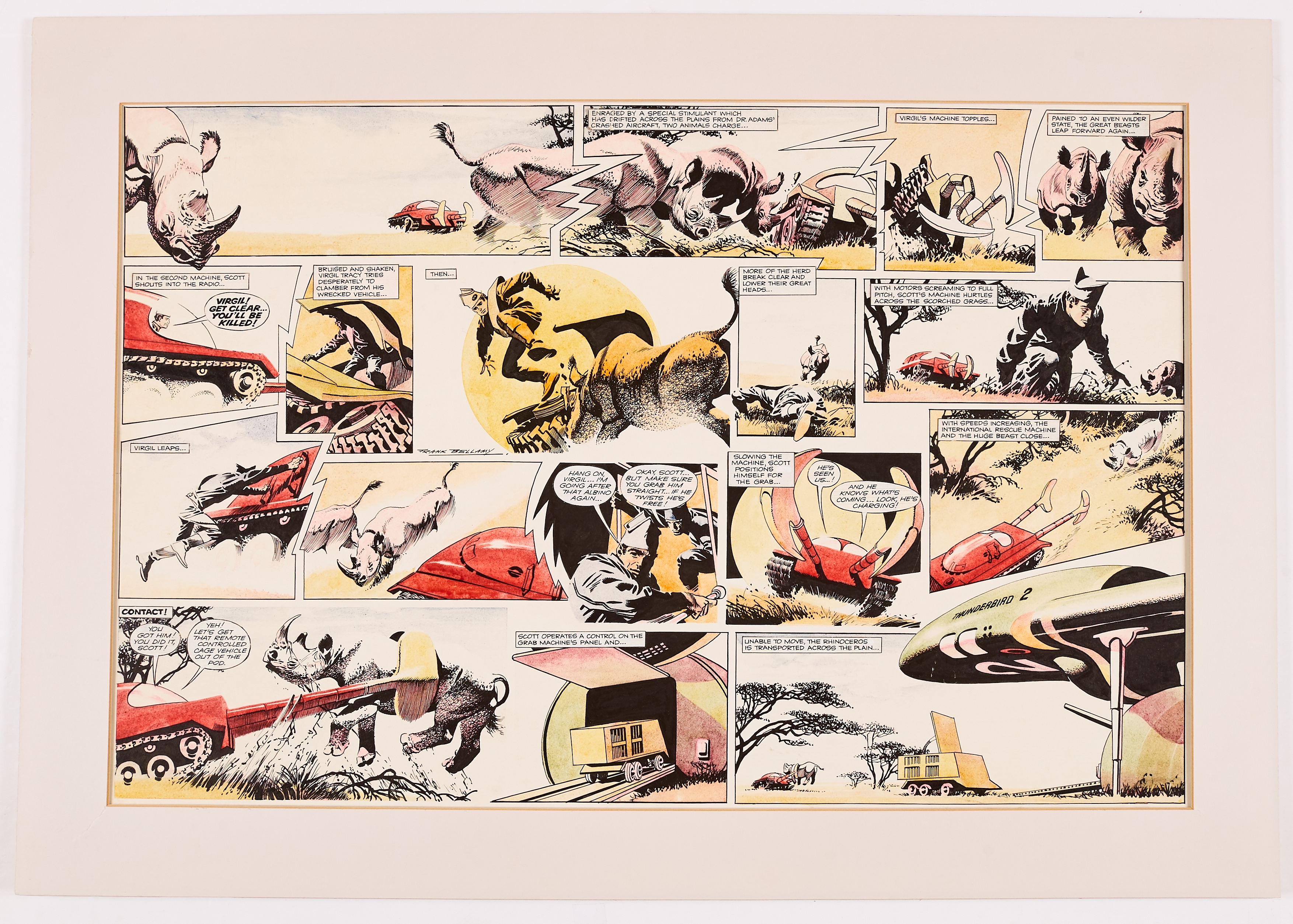 Thunderbirds original double-page artwork drawn, painted and signed by Frank Bellamy from TV Century