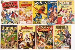 Cartoon Art/Magazine Enterprises (1950s). Black Phantom 1, Captain Fight 1, Big Fight 2, Daredevil