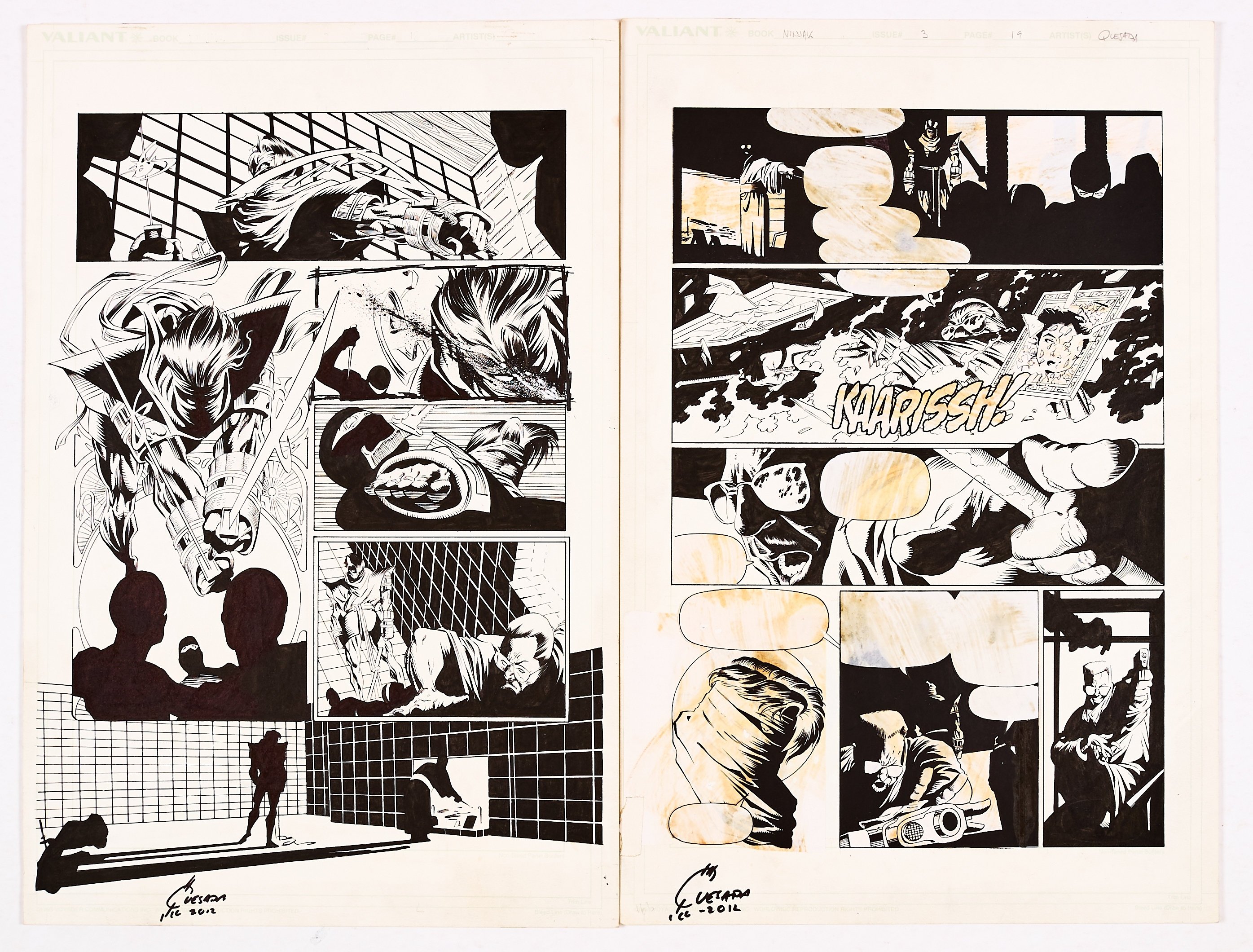 Ninjak # 3 pgs 18 & 19 original artwork drawn and signed by Joe Quesada. Ninjak is recruited for a