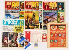 JOE 90 (1969) 1, 2 wfg W.I.N. Coderpass (mint & unwritten), 3 wfg W.I.N. Agent's Badge. Complete set