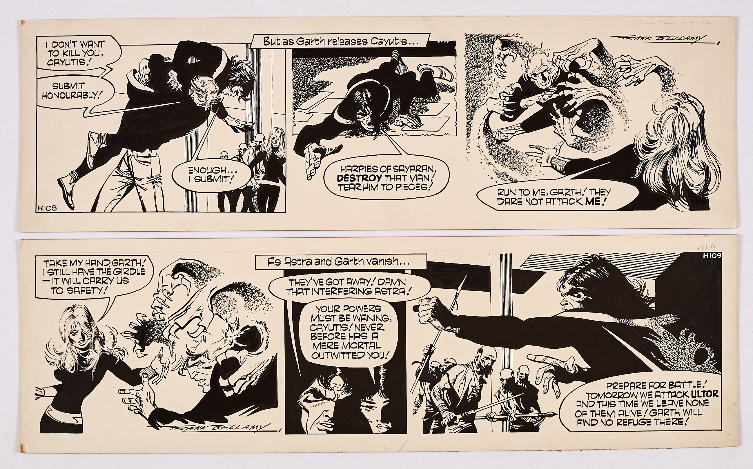 Garth: The Beast of Ultor. 2 original consecutive artworks (1974) drawn and signed by Frank