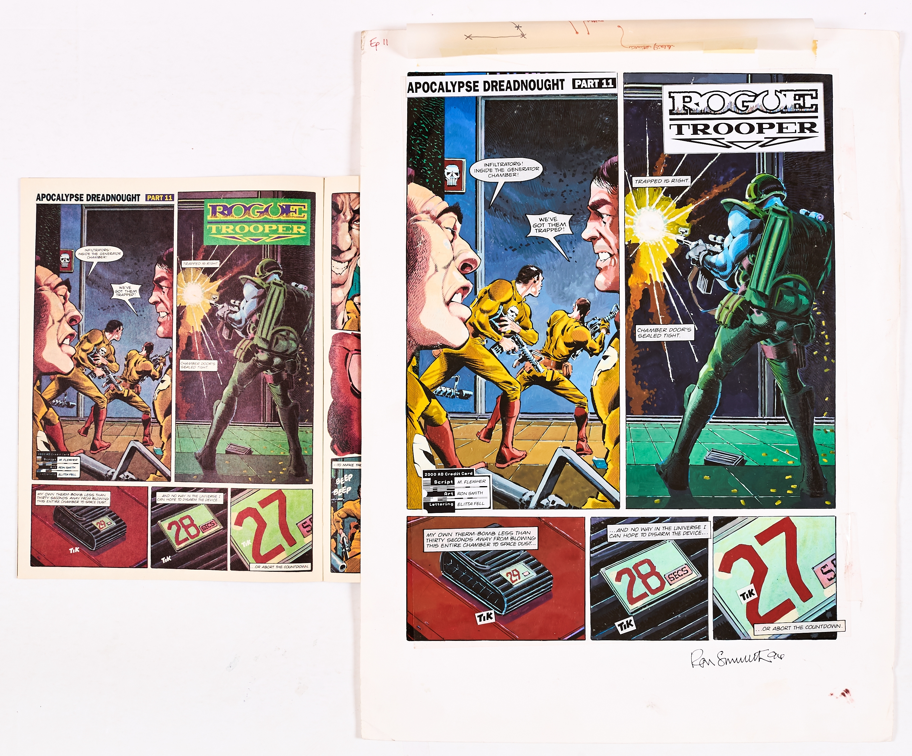Lot 260 - Rogue Trooper original artwork drawn, painted and signed by Ron Smith from 2000AD prog 790, pg 20, 4