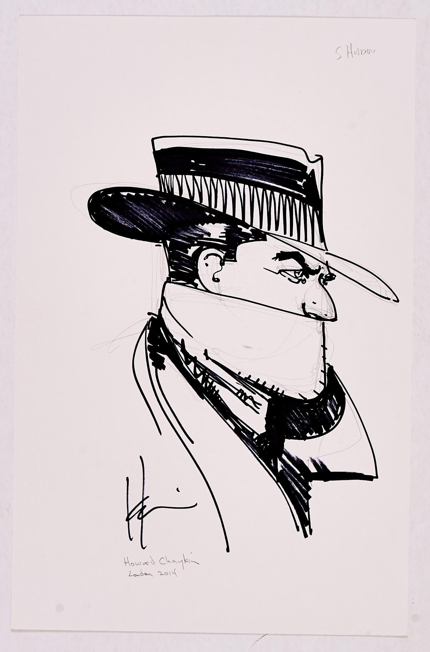 Howard Chaykin signed marker pen sketch of The Shadow from the London Comic Convention 2014. 17 x 11