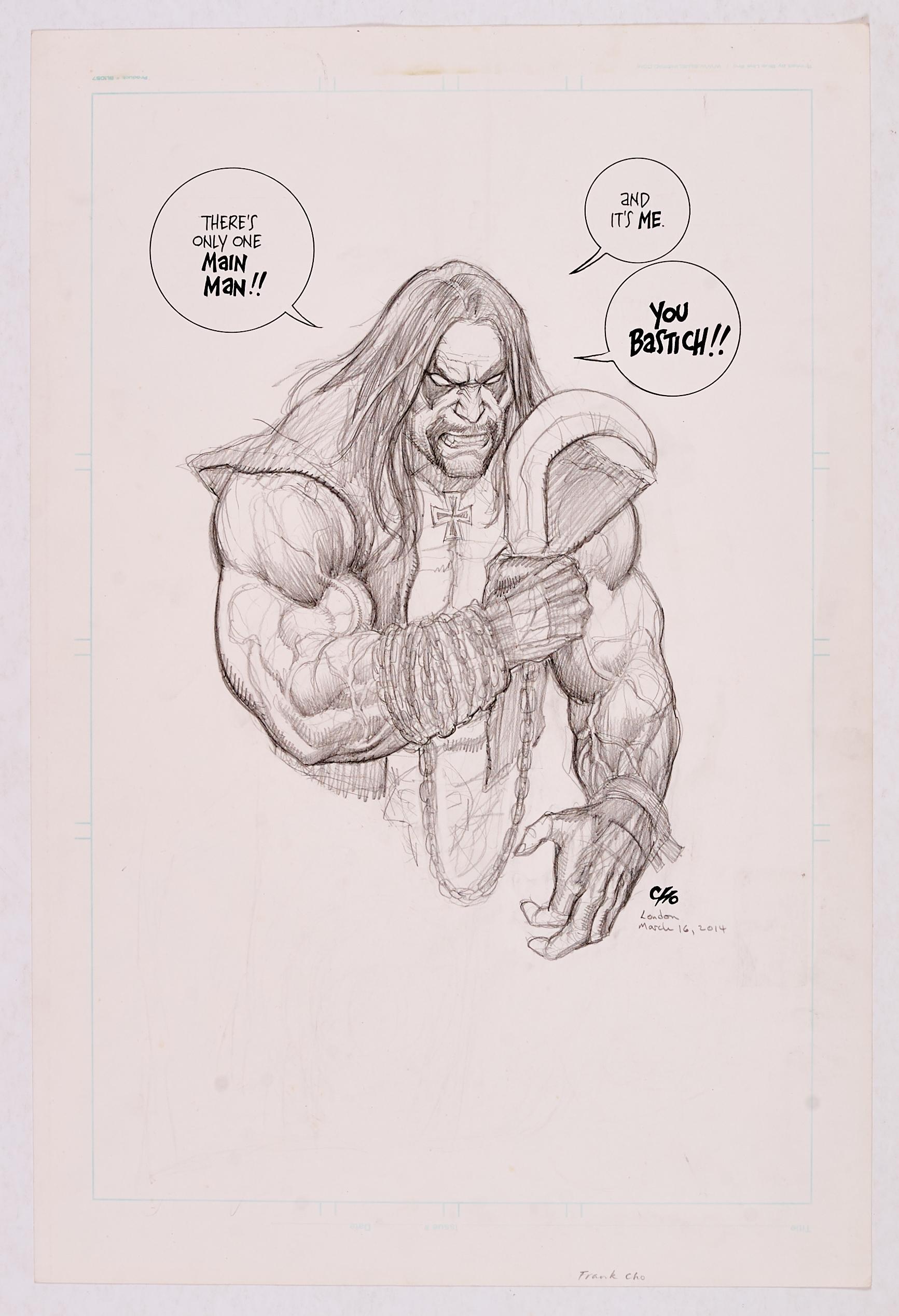 Frank Cho original pencil sketch of Lobo (London Comic Convention 2014). 20 x 14 ins