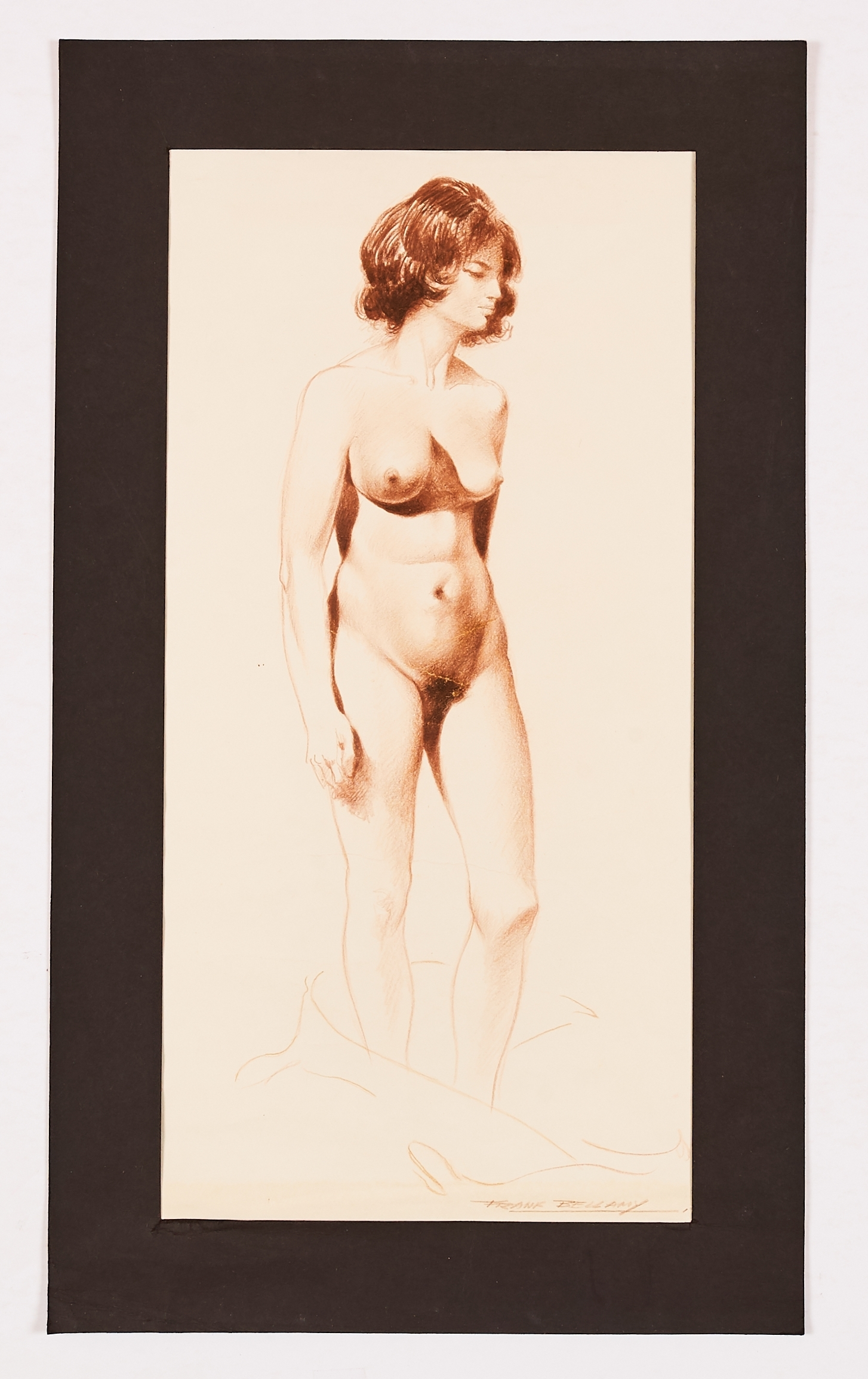 Lot 68 - Angela Mansi nude study drawn and signed by Frank Bellamy (mid 60s). During this time Frank