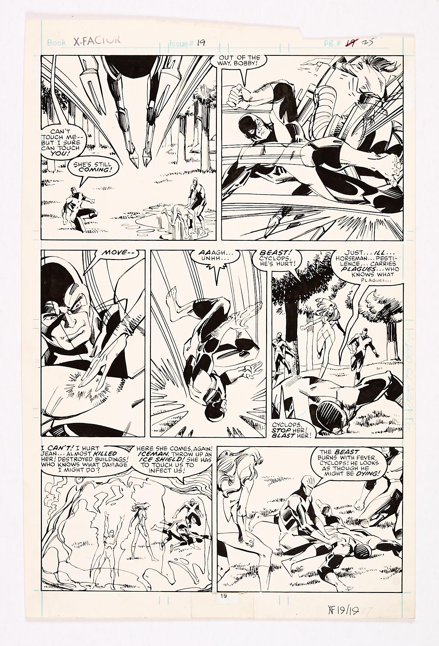 Lot 253 - X-Factor #19 (1987) pg 25 original artwork by Walt Simonson. In the fight against the Apocalypse
