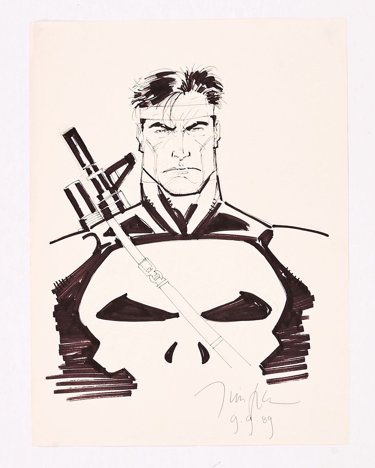 Lot 252 - The Punisher Sketch drawn and signed by Jim Lee (9.9.'89). Ink and marker pen on paper. 15 x 11 ins