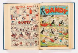 Dandy (1952) 528-579. Complete year in bound volume. Keyhole Kate rare front cover story with