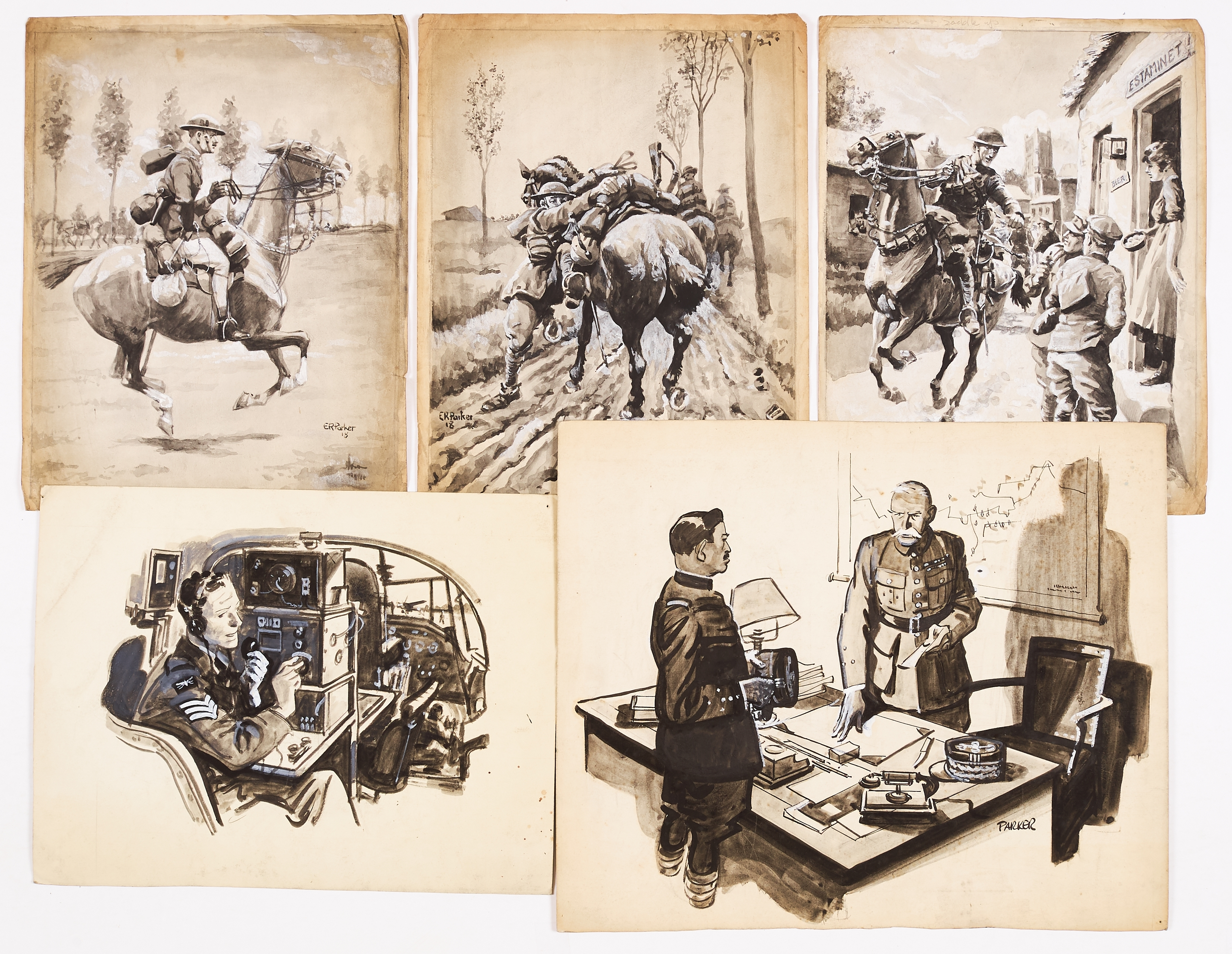 Five wartime sketches (1918-45) painted and (four) signed by Eric Parker. From the Eric Parker