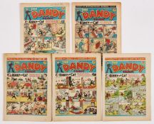Dandy (1940-45) 154, 171, 275, 278, 296. First four are propaganda war issues, No 275 [vg+], balance