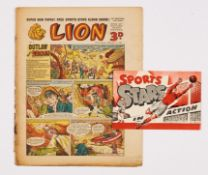 Lion No 1 (1952) wfg Sports Stars in Action booklet. Comic has well-worn spine and rusty staples [