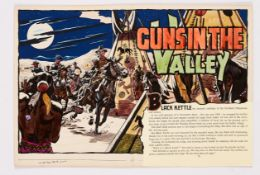 Guns in the Valley original double page artwork (1956) drawn and painted by Denis McLoughlin from