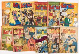 Batman Australian reprints (1950s) 18, 38, 39, 73, 78-80, 84, 86, 88, 89, 100. No 18 [gd],