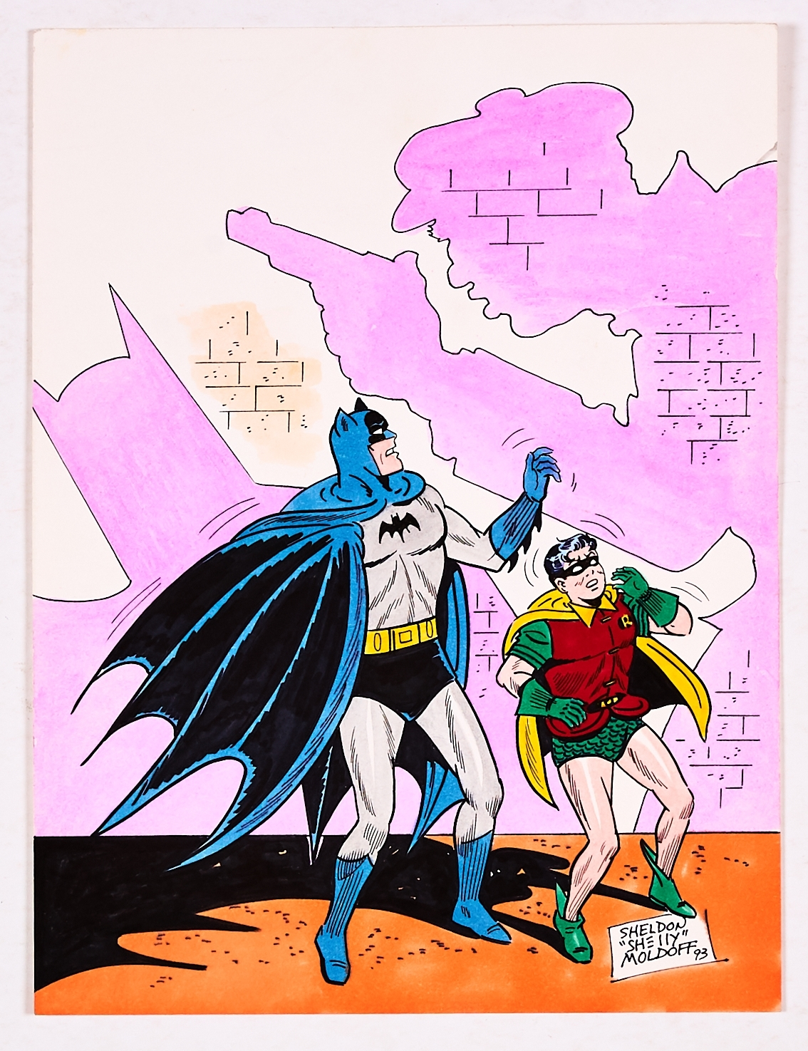 Batman and Robin colour sketch drawn, painted and signed by Shelly Moldoff (1993). Watercolour on