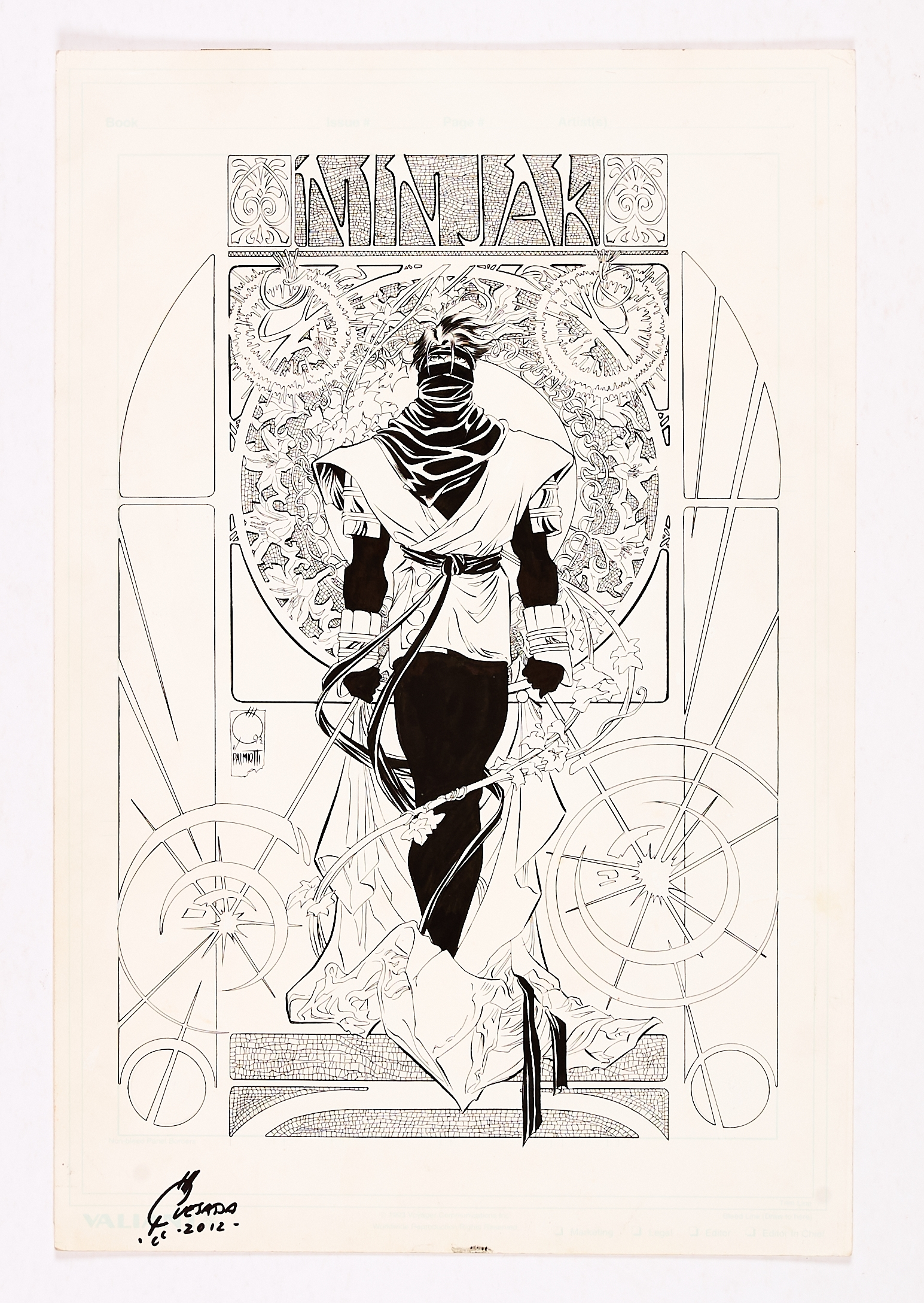 Ninjak original first promotional artwork drawn and signed by Joe Quesada (inks by Jimmy