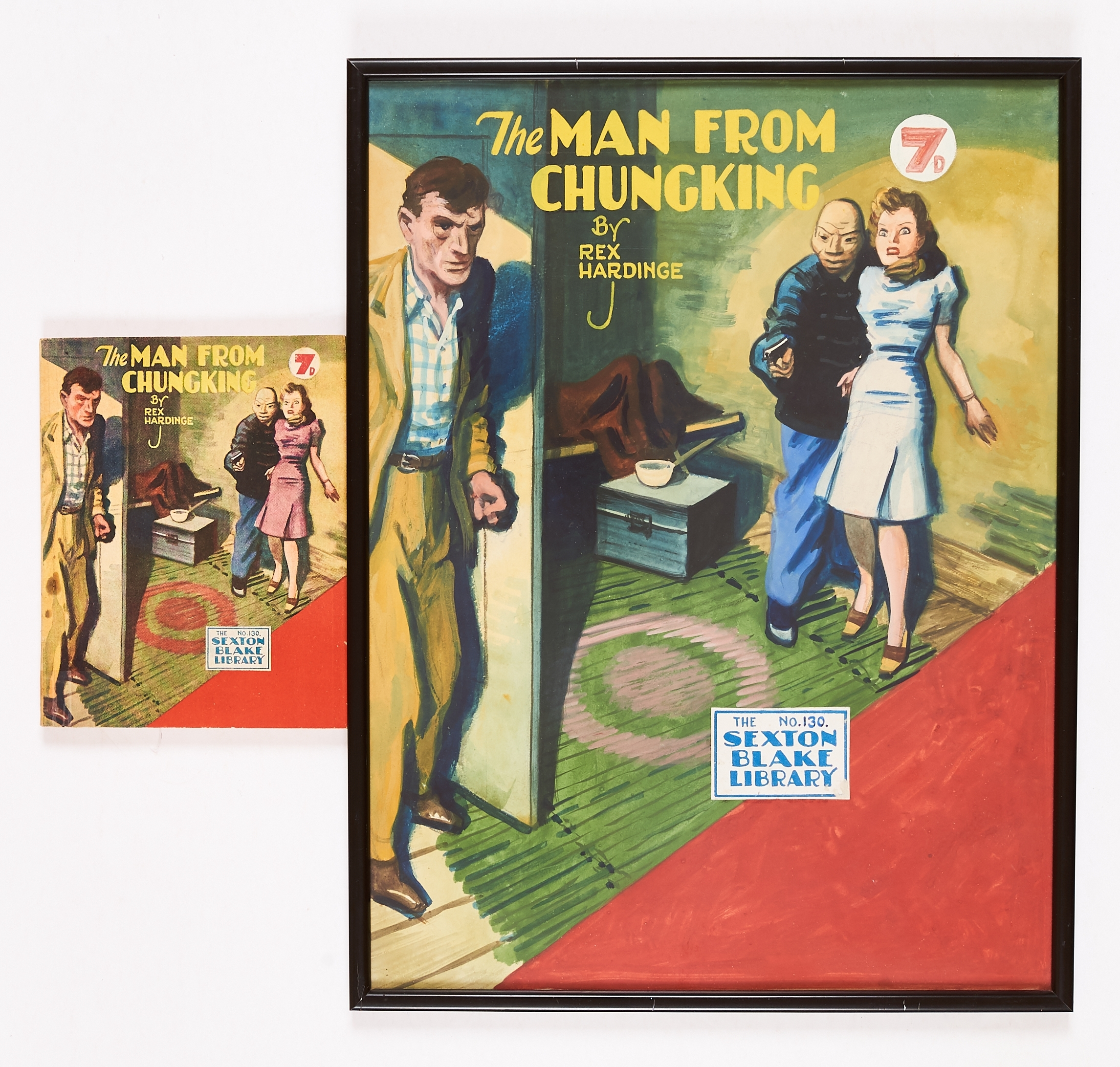 Sexton Blake/The Man from Chungking original artwork by Eric Parker for Sexton Blake Library No