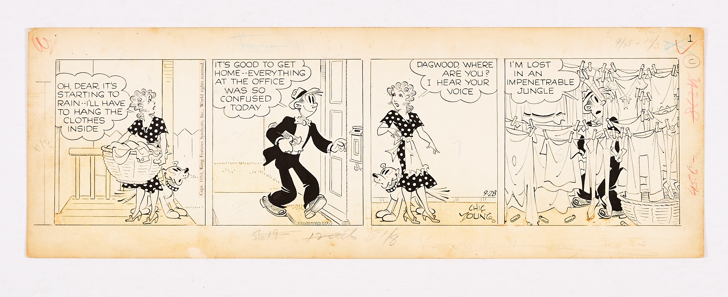 Blondie and Dagwood original artwork comic strip (1953) signed by artist, Chic Young. Indian ink