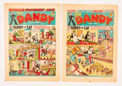 Dandy 602 (1952) Coronation Holiday Paper with Dandy 716 (1955). First Crackaway Jack by Paddy