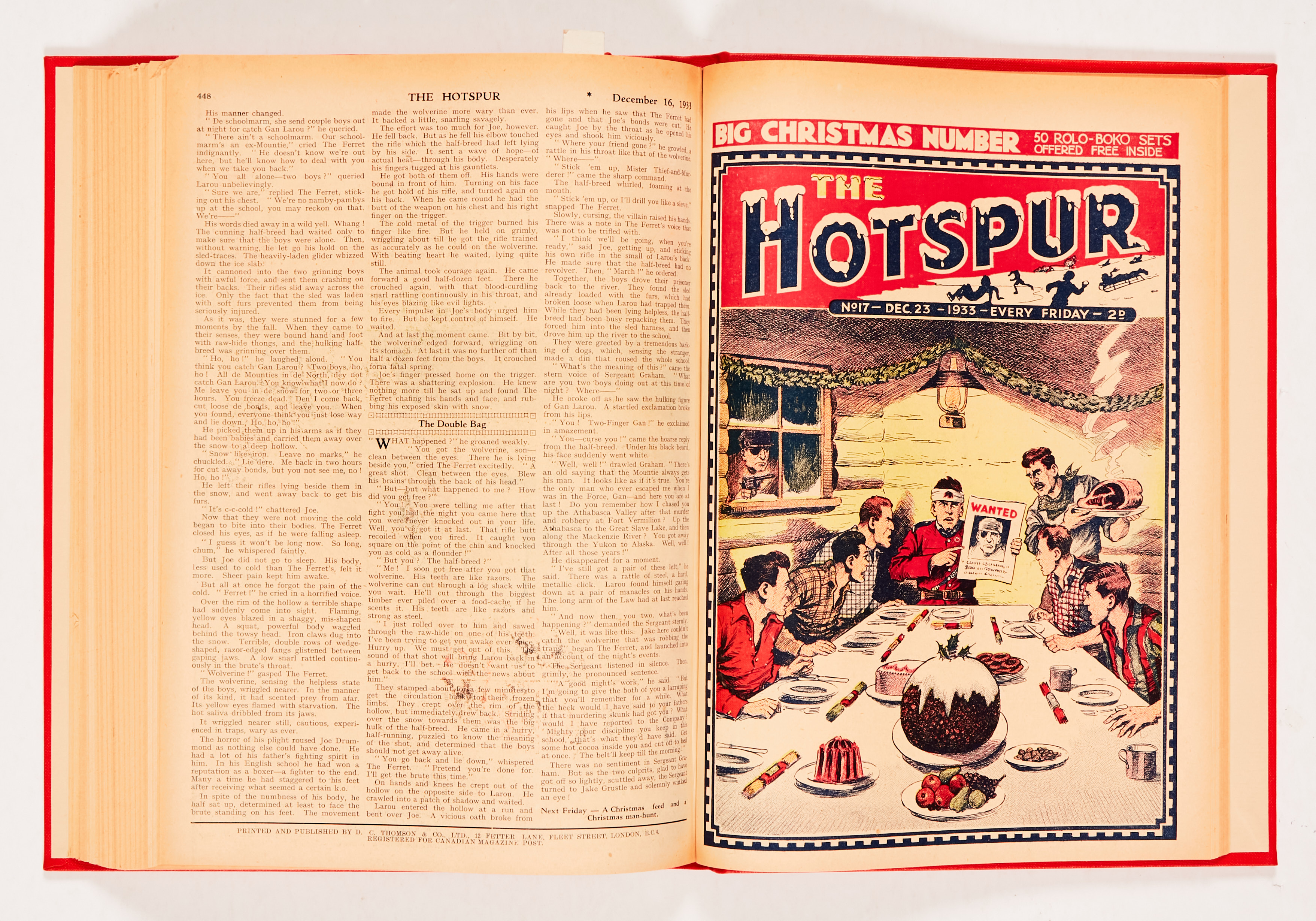 """Hotspur (1933) 2-18 in bound volume. No 2: spots and wear to rear pages [vg-], No 3: Cover has 2"""" - Image 2 of 3"""