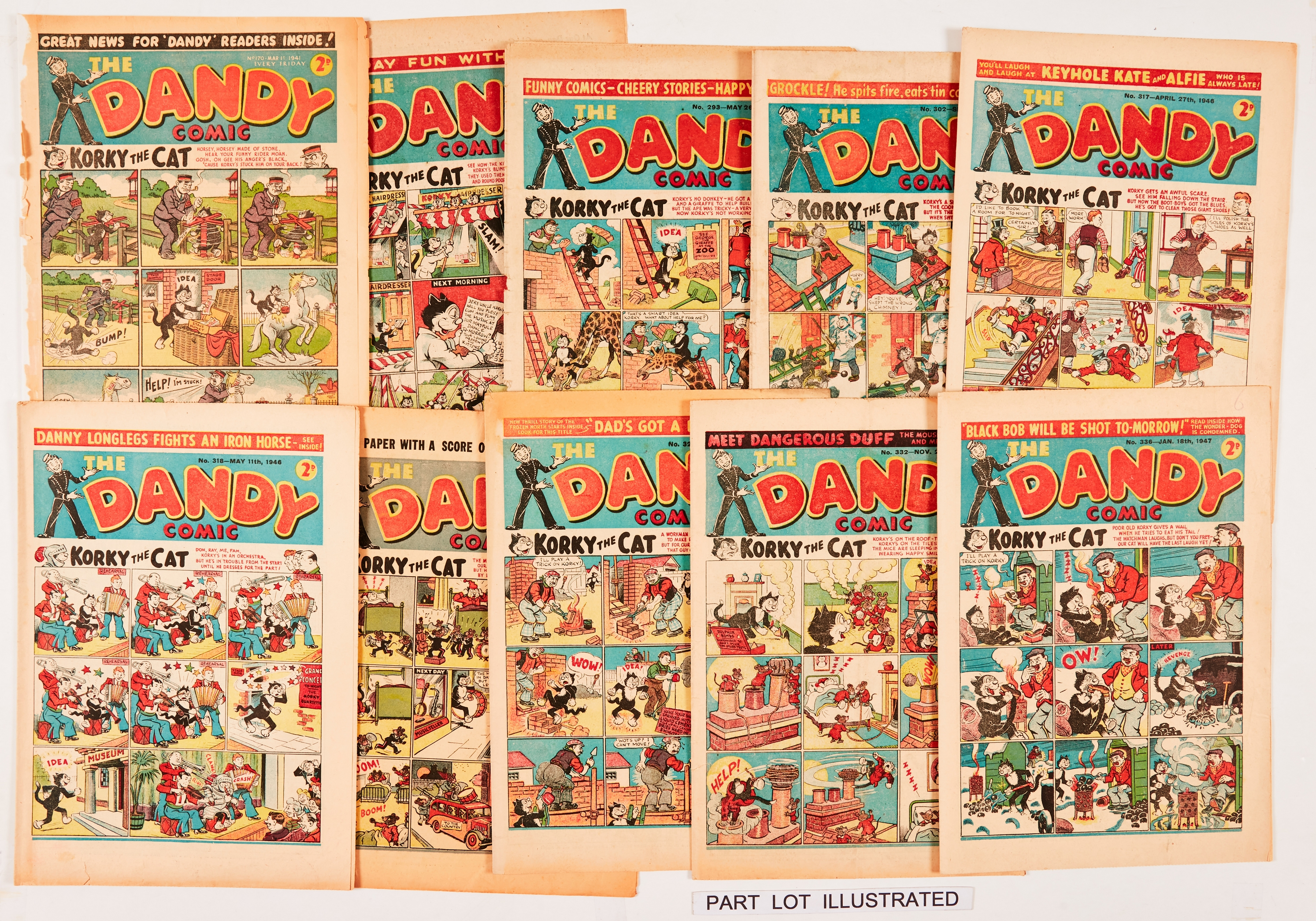 Dandy (1941-49) 170 [pr], 239, 293, 294, 302, 317, 318, 321, 324, 332, 336, 377, 411 [gd/vg] (12).