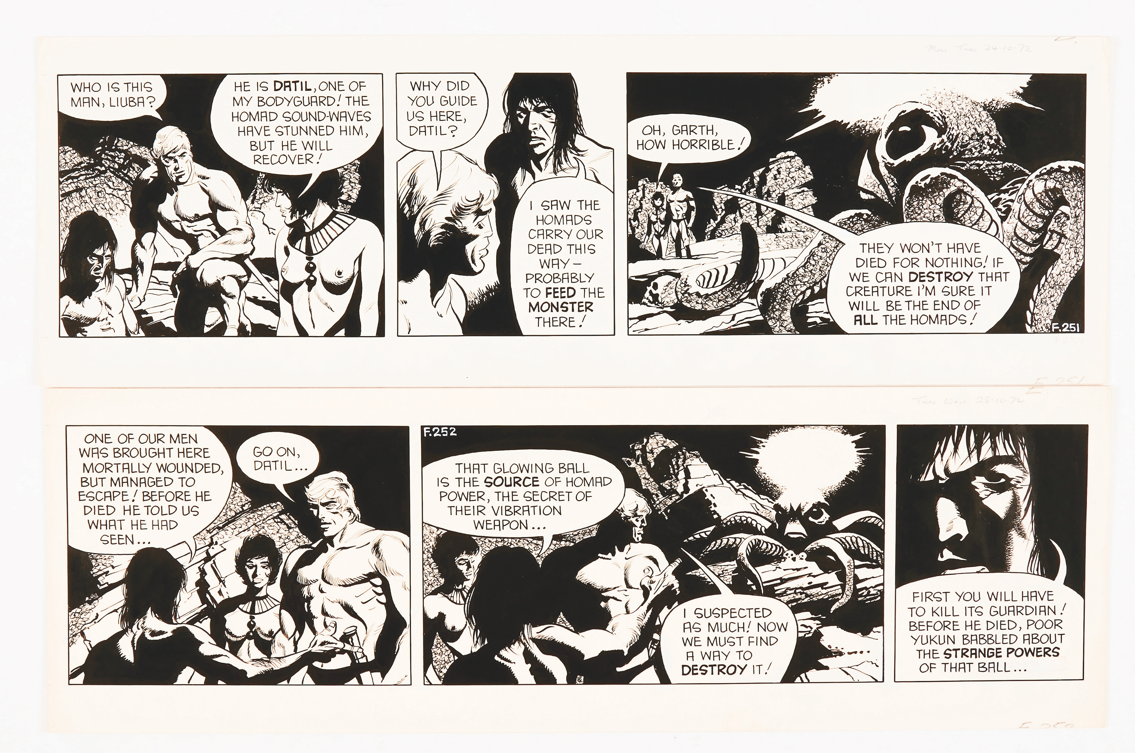 Garth: 'The People of the Abyss'. 2 original consecutive artworks (1972) by Frank Bellamy for the