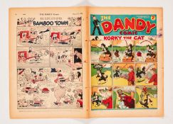 Dandy No 16 (1938). Five sew-holes to spine with three pulled through (retrieved from bound