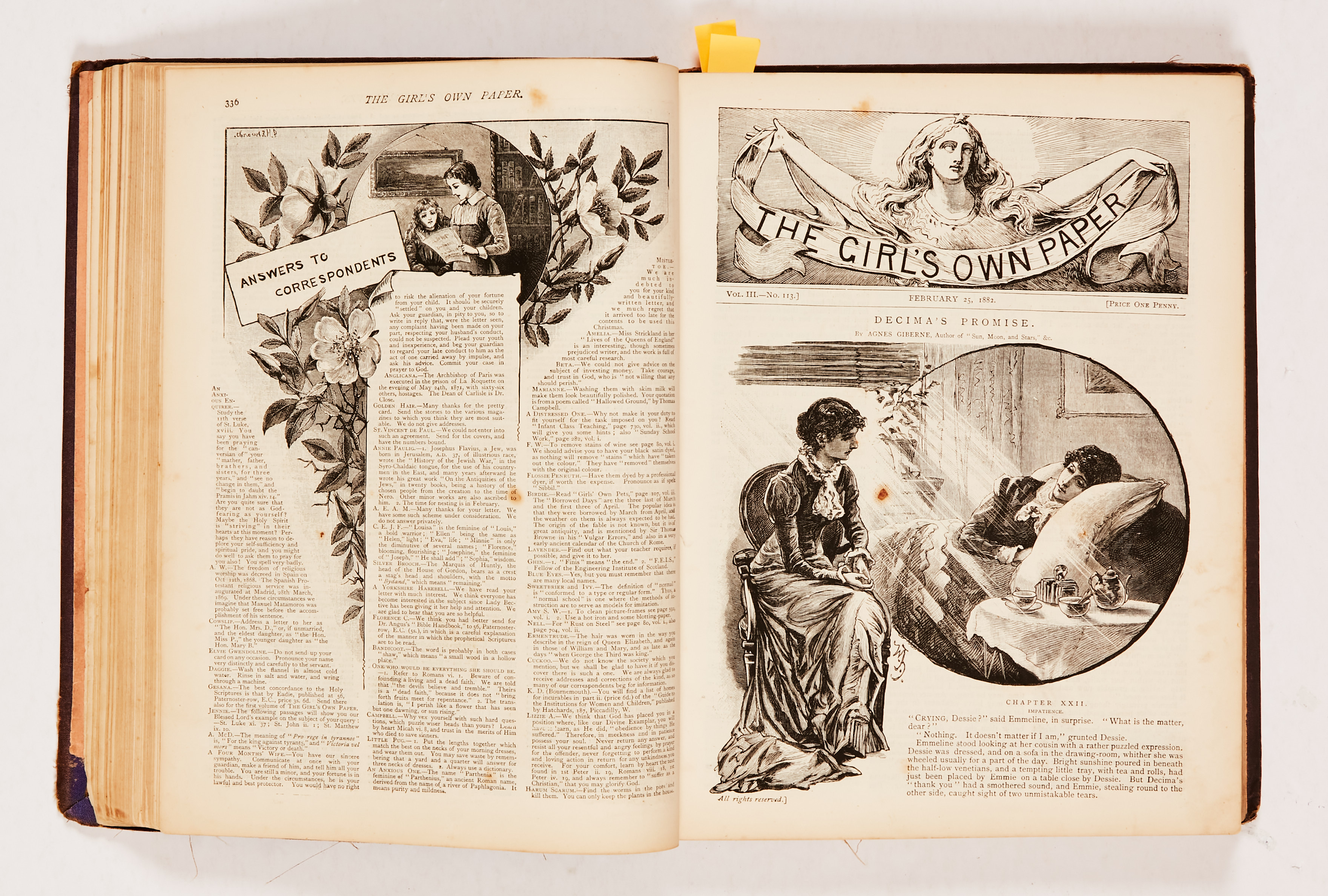 The Girl's Own Paper (1882) 106-135. Worn cloth binding. Interior pages [fn-/fn+] (20) - Image 2 of 4