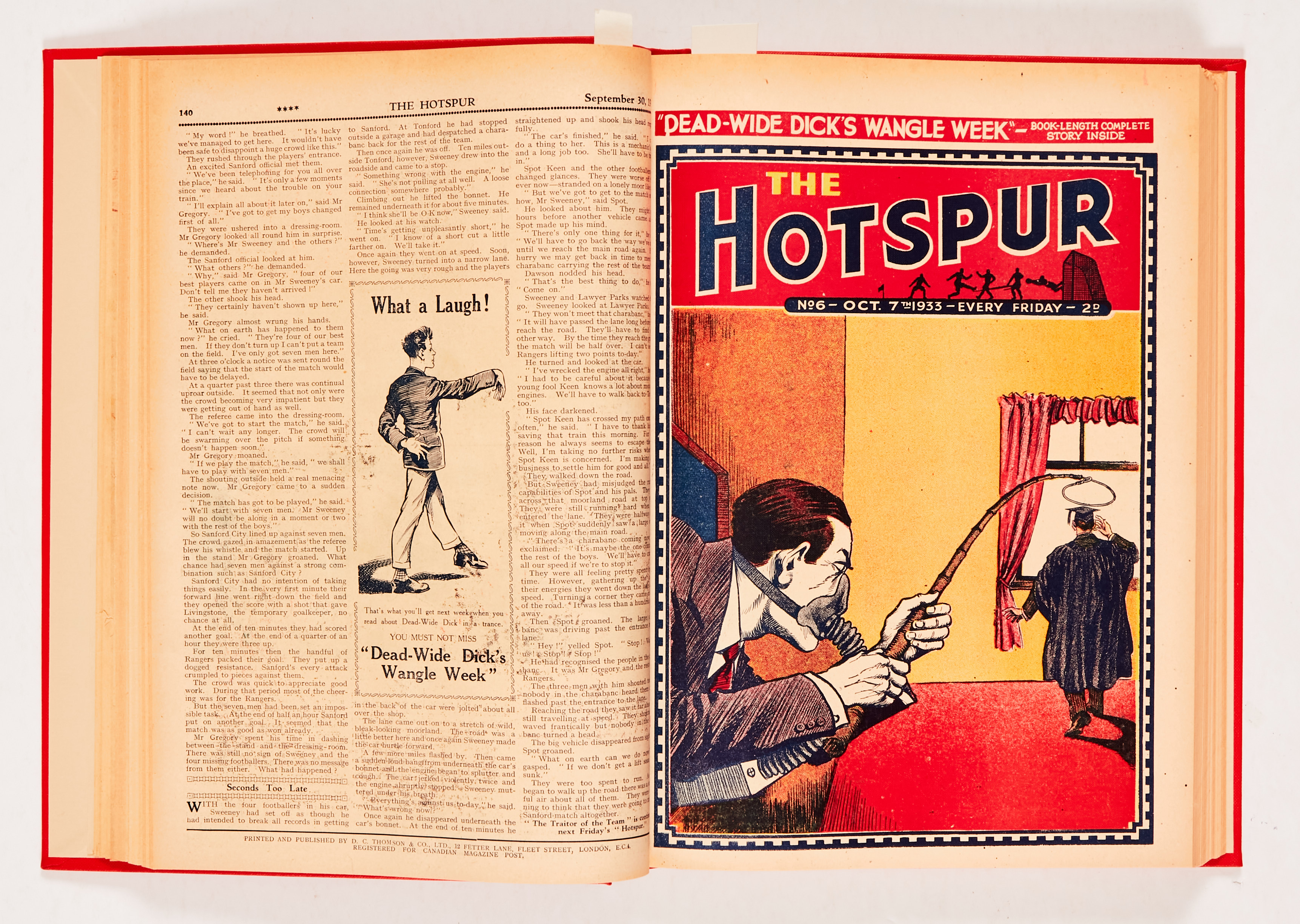 """Hotspur (1933) 2-18 in bound volume. No 2: spots and wear to rear pages [vg-], No 3: Cover has 2"""""""