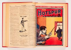 Hotspur (1933) 2-18 in bound volume. No 2: spots and wear to rear pages [vg-], No 3: Cover has 2""