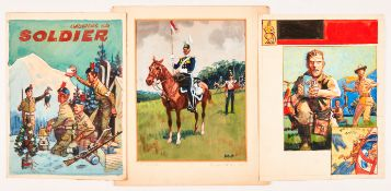 17th Lancers 'Review Order 1853' painting painted and signed by Eric Parker. 13 x 11 ins with two
