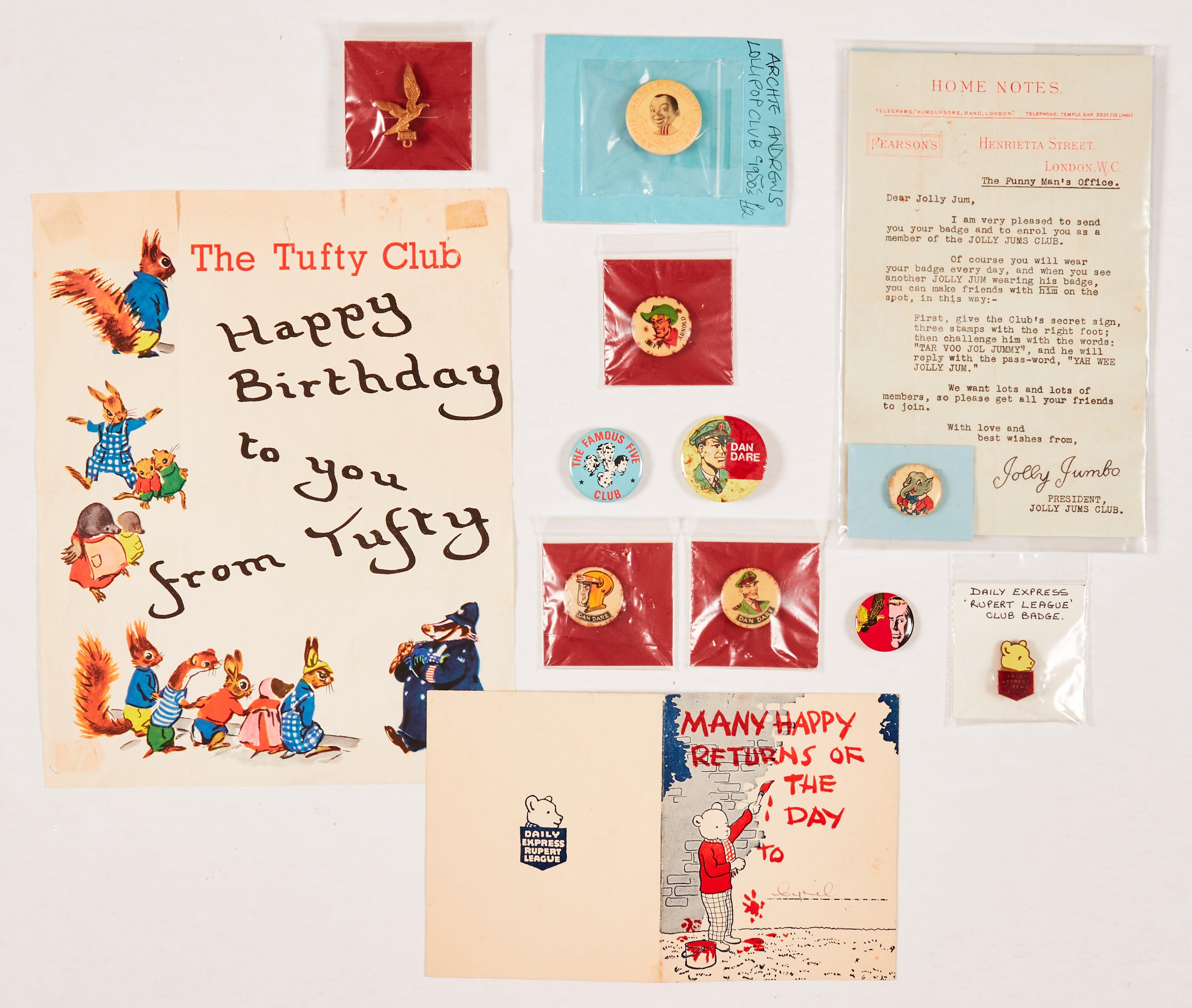 Rupert Christmas Card, D. Express 'Rupert League' Club badge (1930s), Jolly Jumbo's Christmas