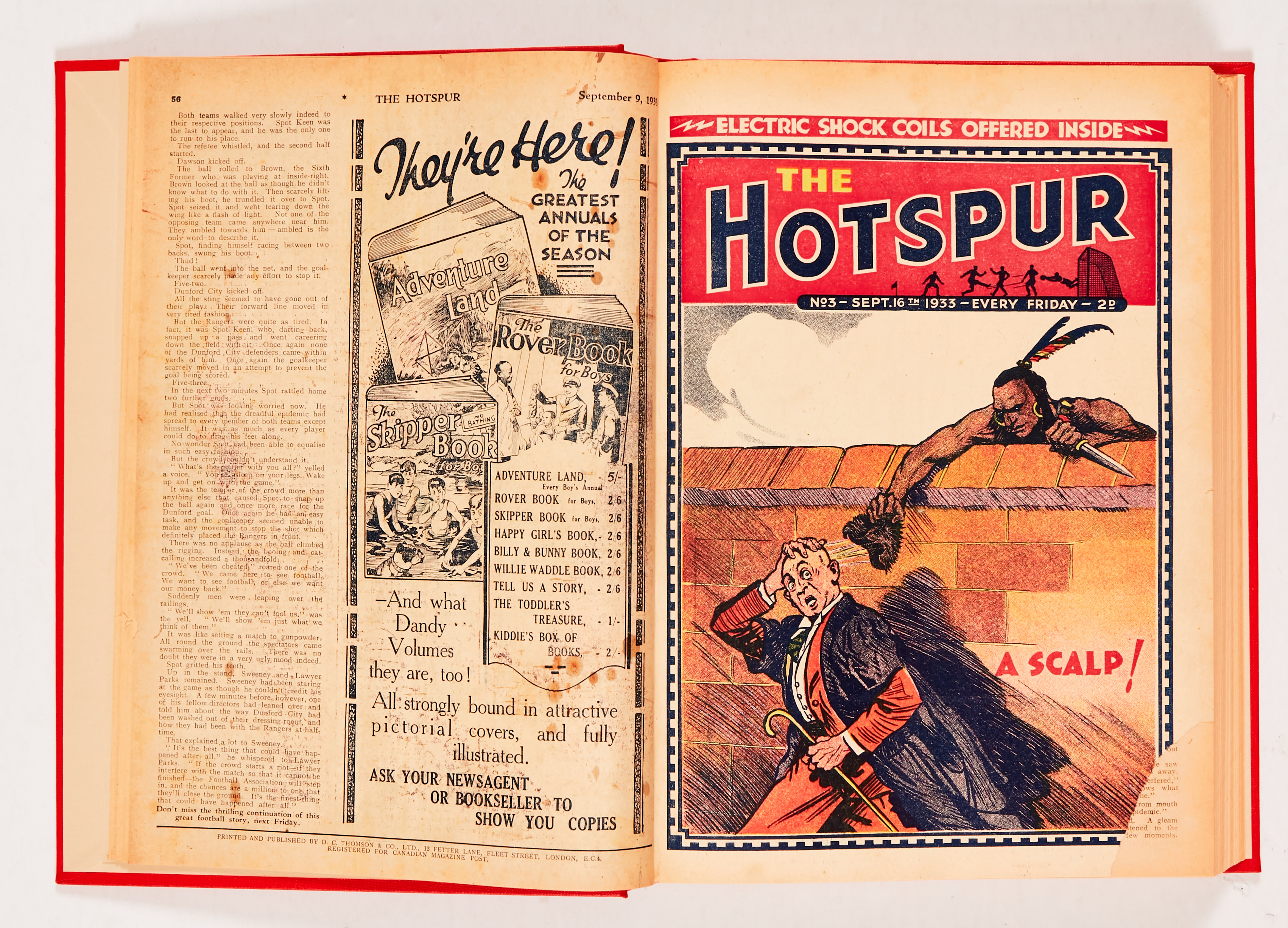 """Hotspur (1933) 2-18 in bound volume. No 2: spots and wear to rear pages [vg-], No 3: Cover has 2"""" - Image 3 of 3"""