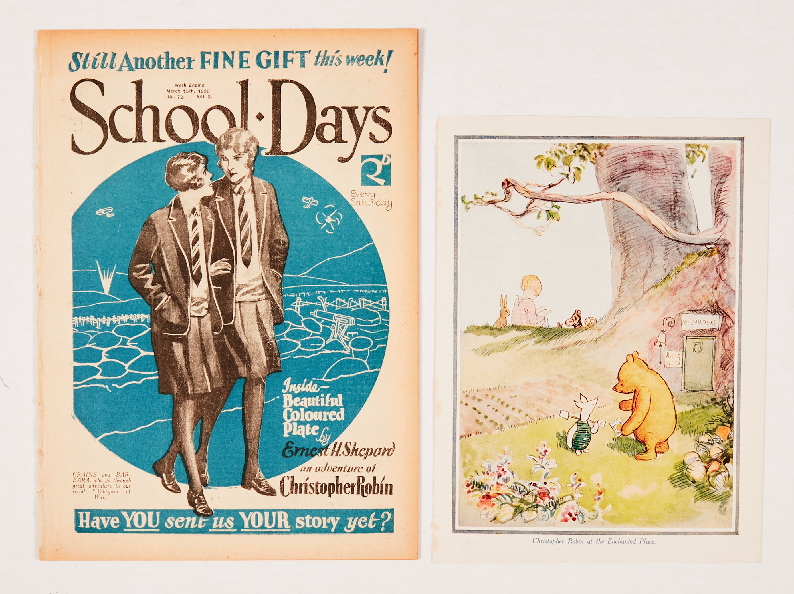 School Days 72 (1930) wfg coloured art plate of 'Christopher Robin at the Enchanted Place' by E.H.