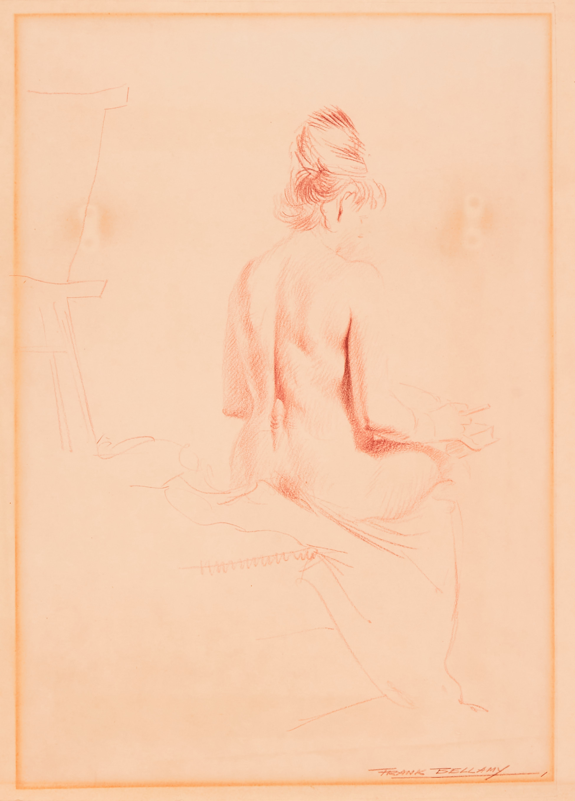 Nude study drawn and signed by Frank Bellamy (mid 1960s). During this time Frank Bellamy ran and