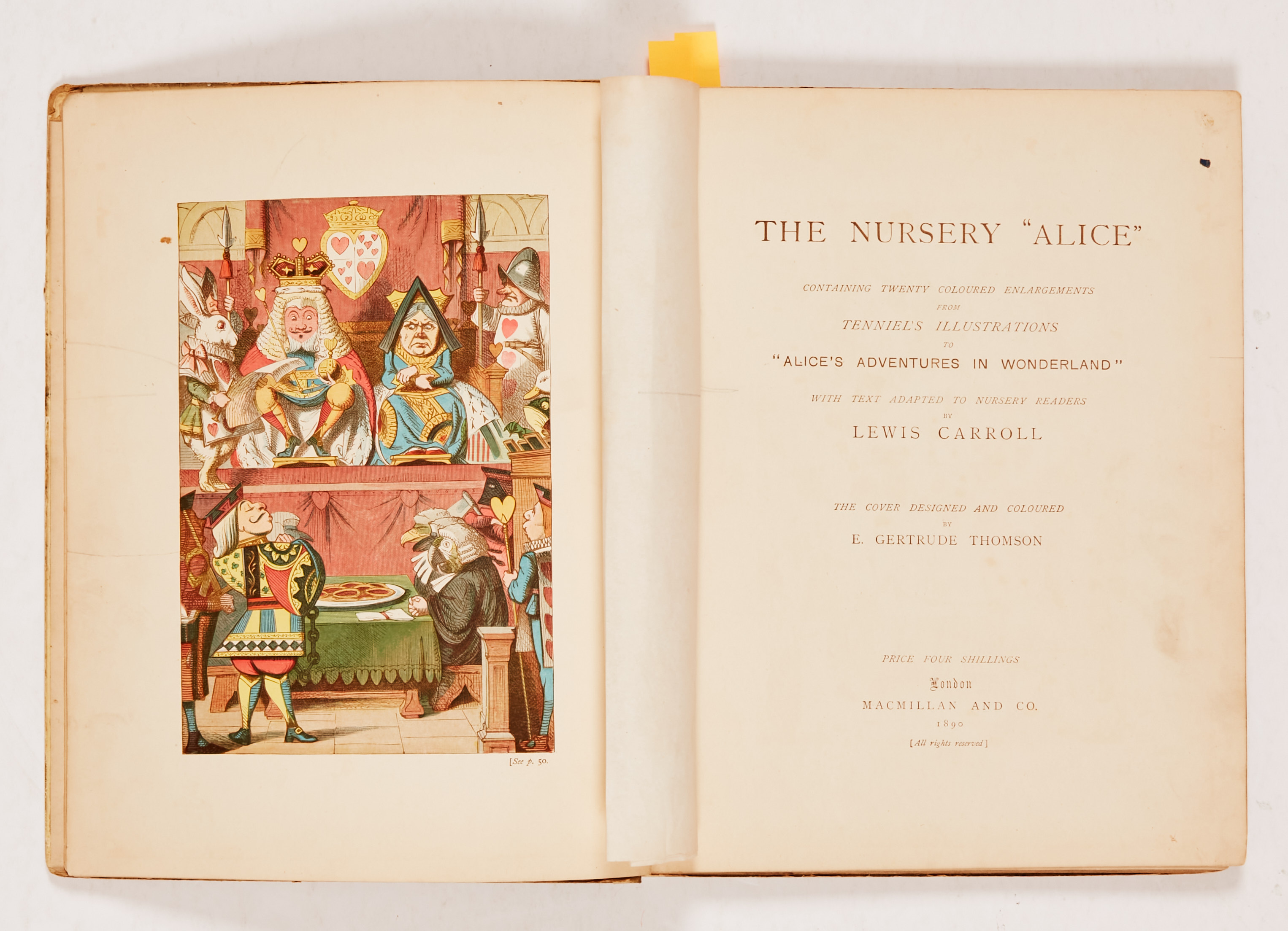 """The Nursery """"Alice"""" (1890 MacMillan and Co). Second edition containing 20 coloured enlargements from - Image 2 of 4"""