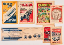 Radio Fun 18 (1939) with free gift Bumper Song Book, Nelson Lee Library 23, 25 (1933), Gem 1331 (