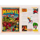 Mighty World of Marvel No 16 (1973) with original painted artwork for pg 10 layout 'Mighty Marvel Ma