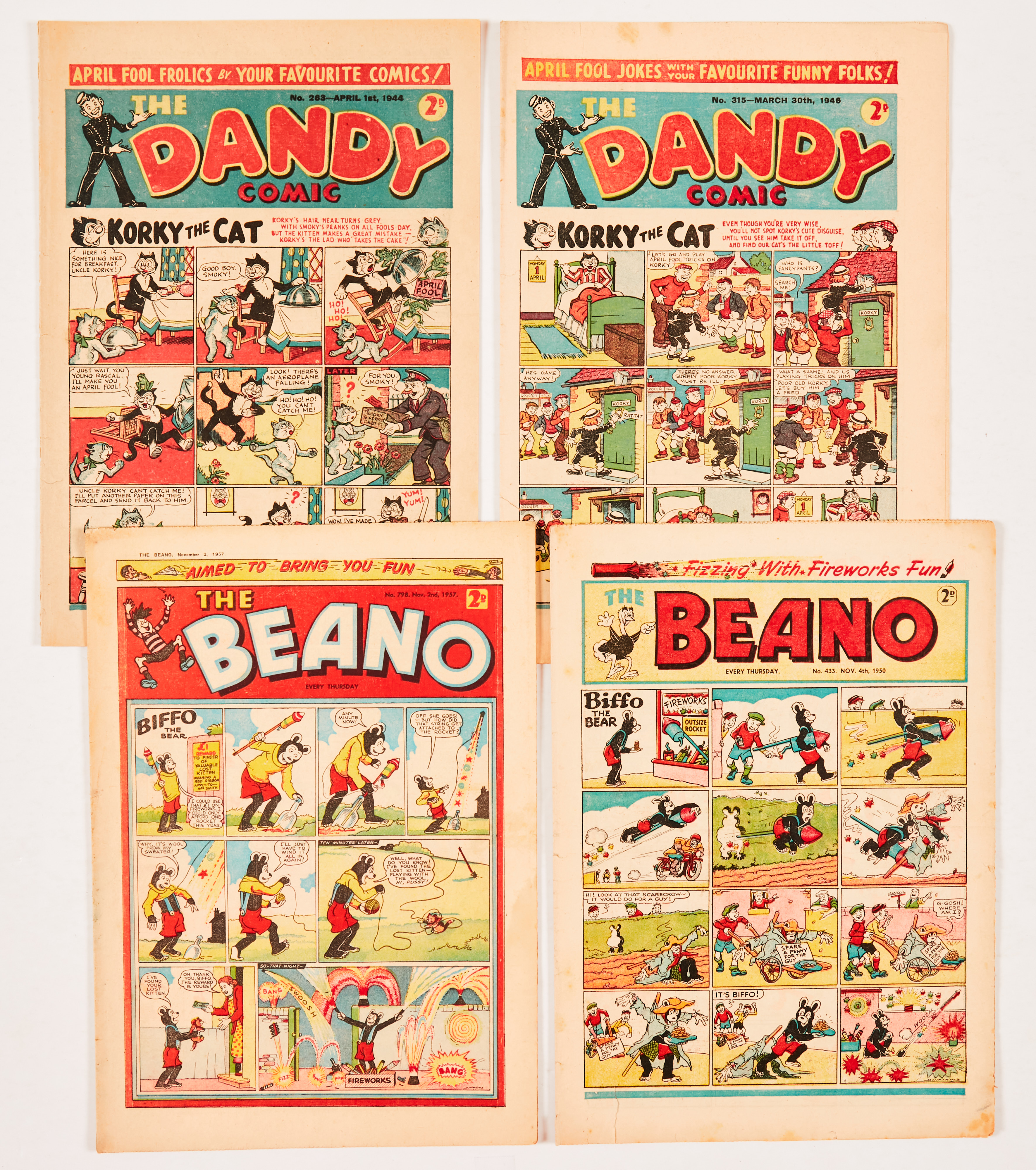 Dandy and Beano Special Issues (1944-57). Dandy No 263 April Fool 1944, No 315 April Fool 1946