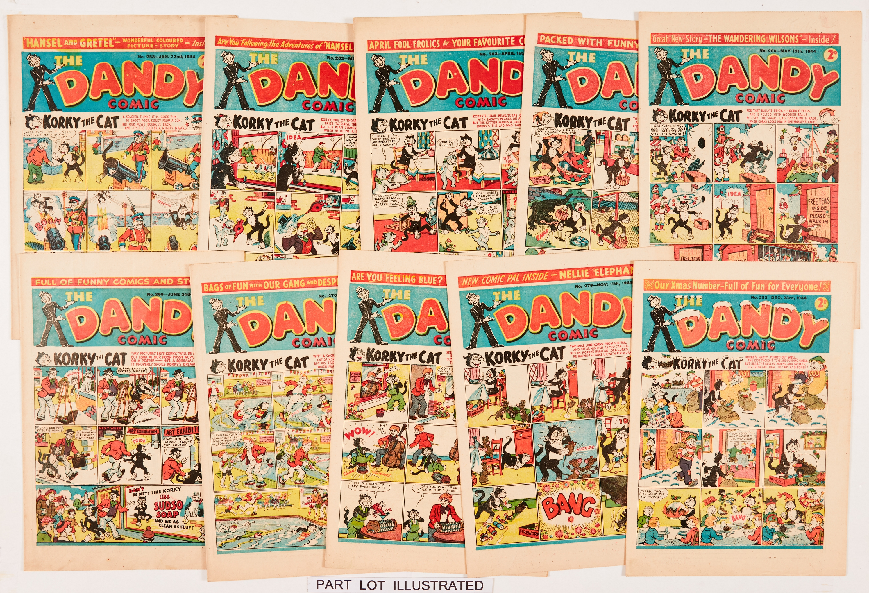 Dandy (1944) 257-282 Xmas. Complete year of propaganda war issues. First Black Bob by Allan