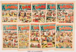 Dandy (1944) 257-282 Xmas. Complete year of propaganda war issues. First Black Bob by Allan