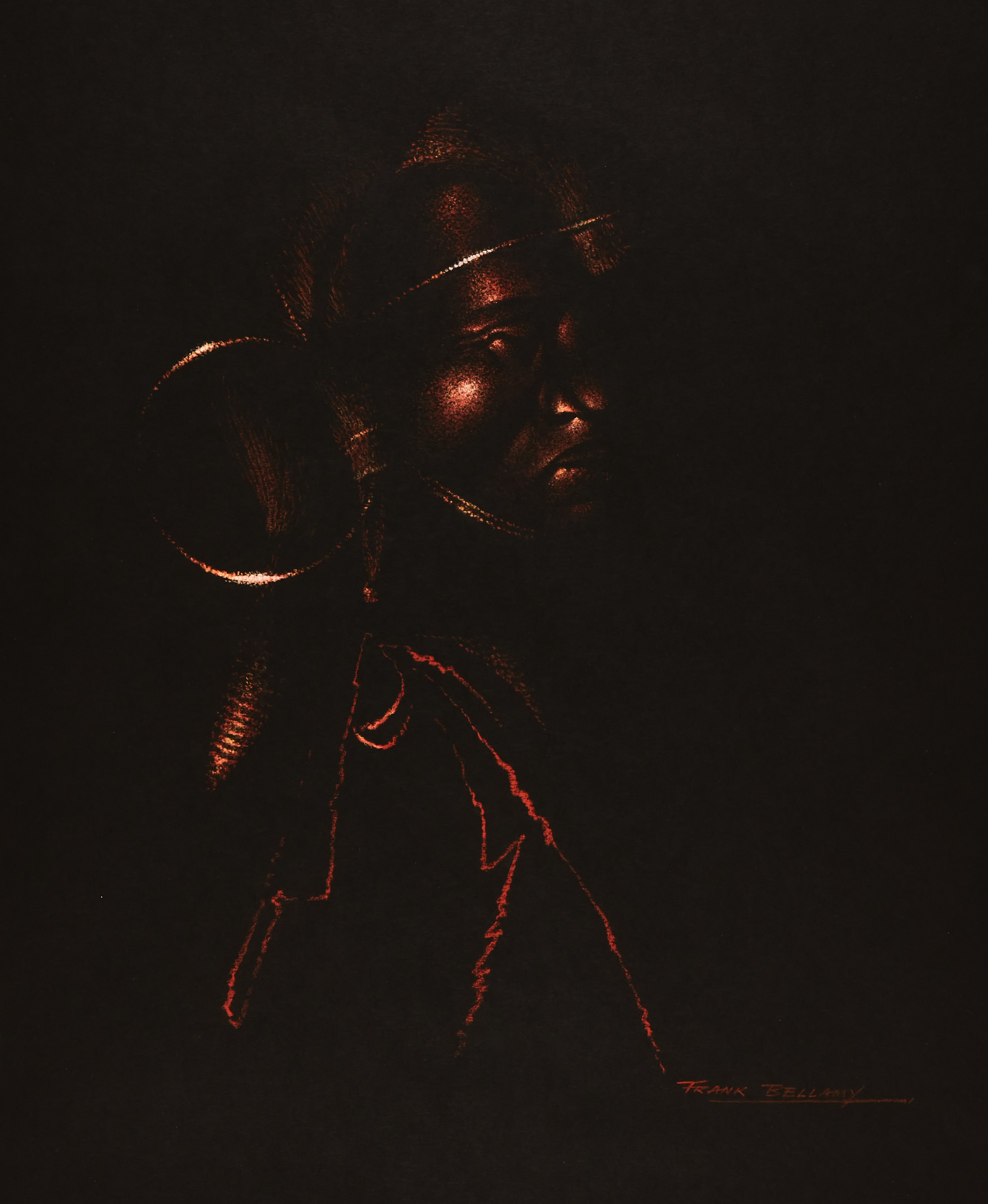 Maasai Warrior drawn and signed by Frank Bellamy (1960s). Terra cotta pastel on black cartridge