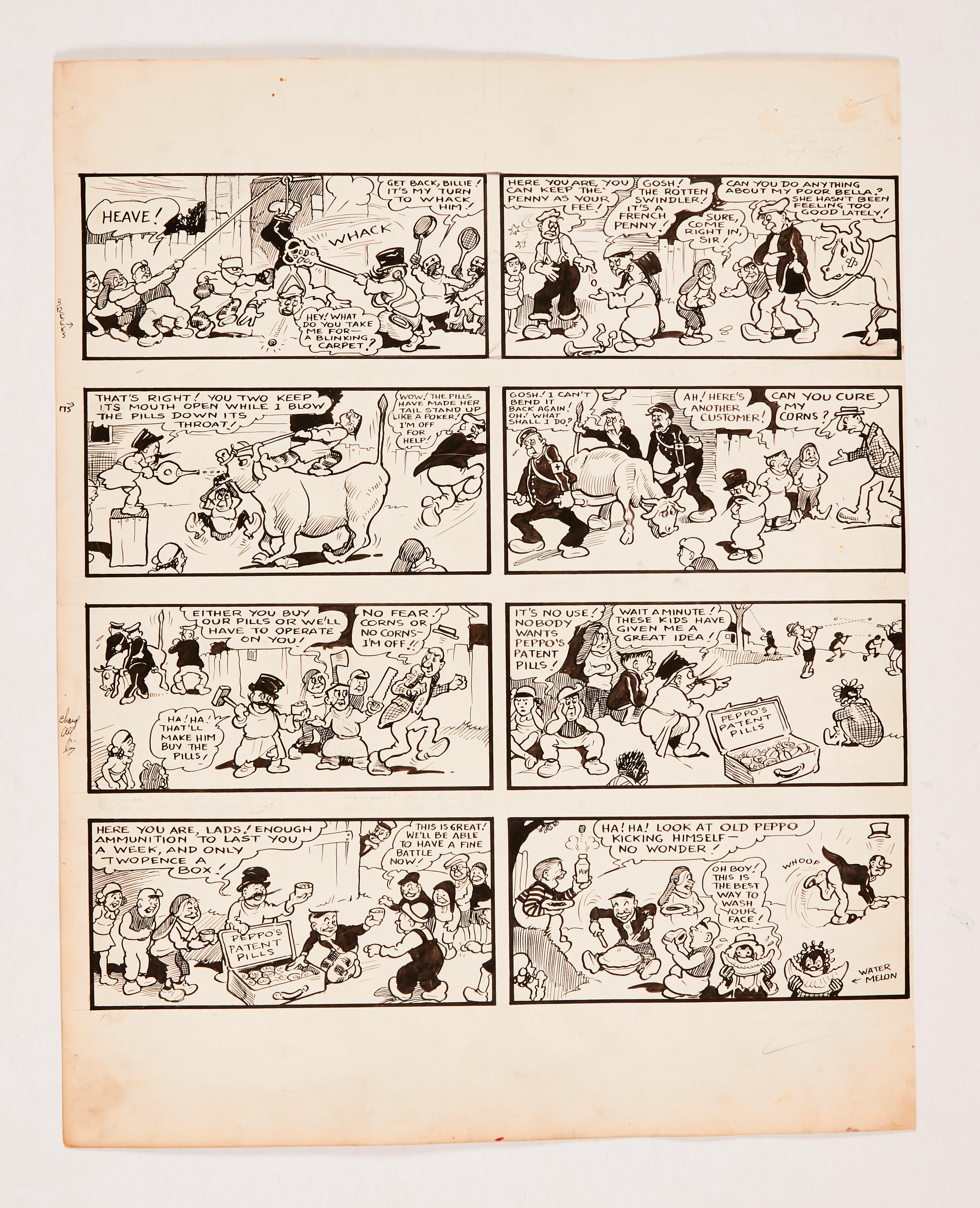 Our Gang original artwork by Dudley Watkins from The Dandy (late 1930s). From the Bob Monkhouse
