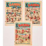 Dandy (1939) 103, 104, 105. Propaganda war issues. Desperate Dan awarded the Iron Cross by Adie